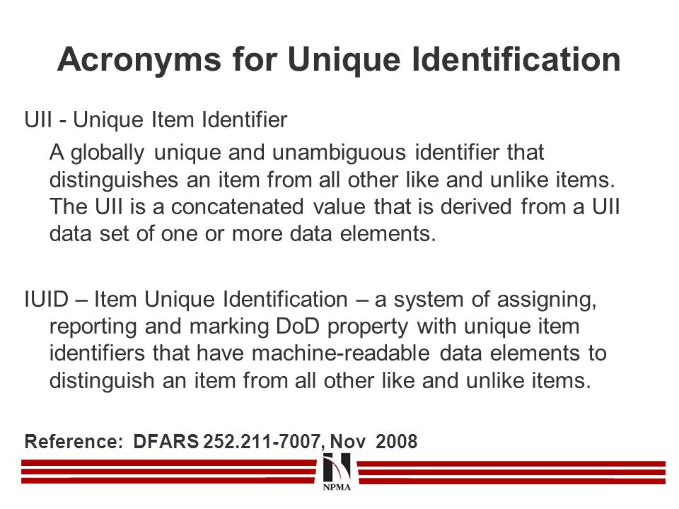 Acronyms for Unique Identification