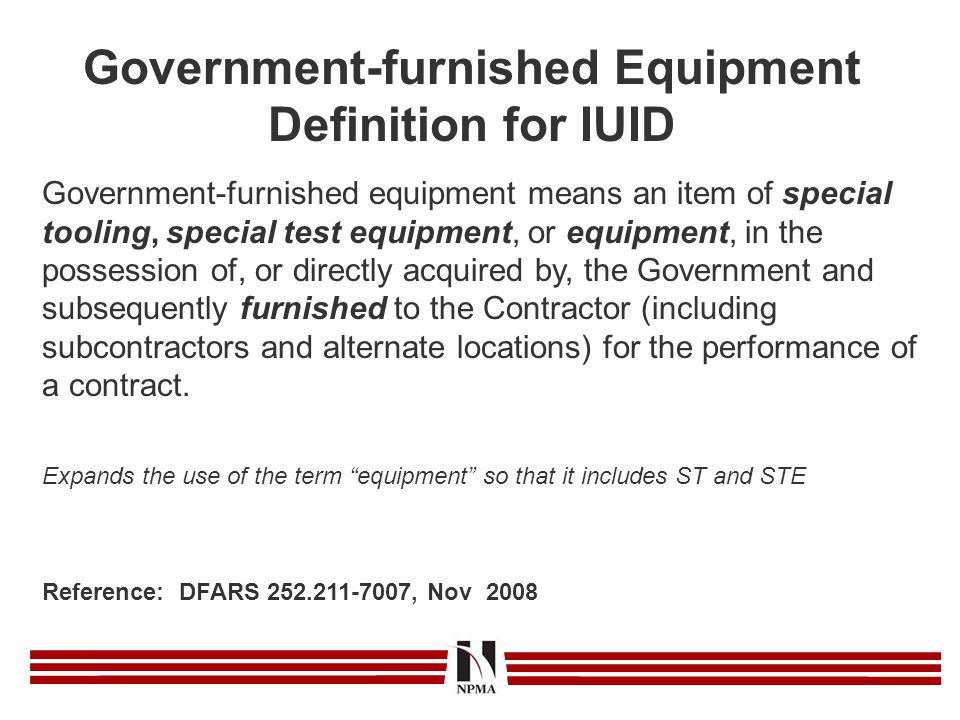 Government-furnished Equipment Definition for IUID