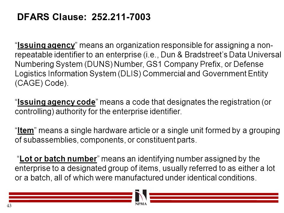 DFARS Clause: 252.211-7003