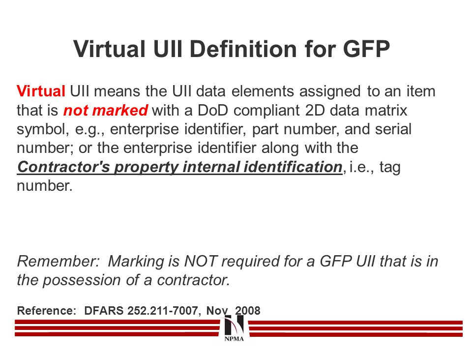 Virtual UII Definition for GFP