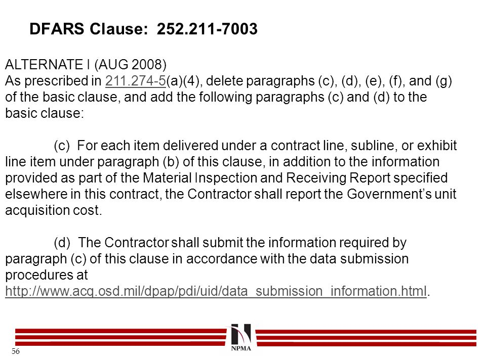 DFARS Clause: 252.211-7003 ALTERNATE I (AUG 2008)