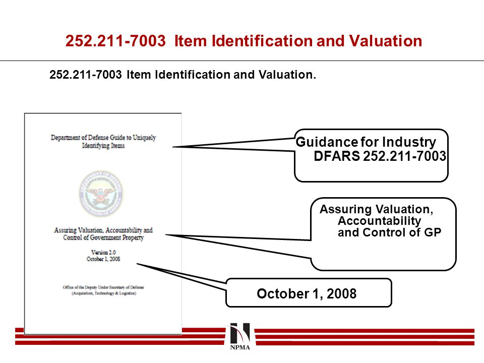 252.211-7003 Item Identification and Valuation