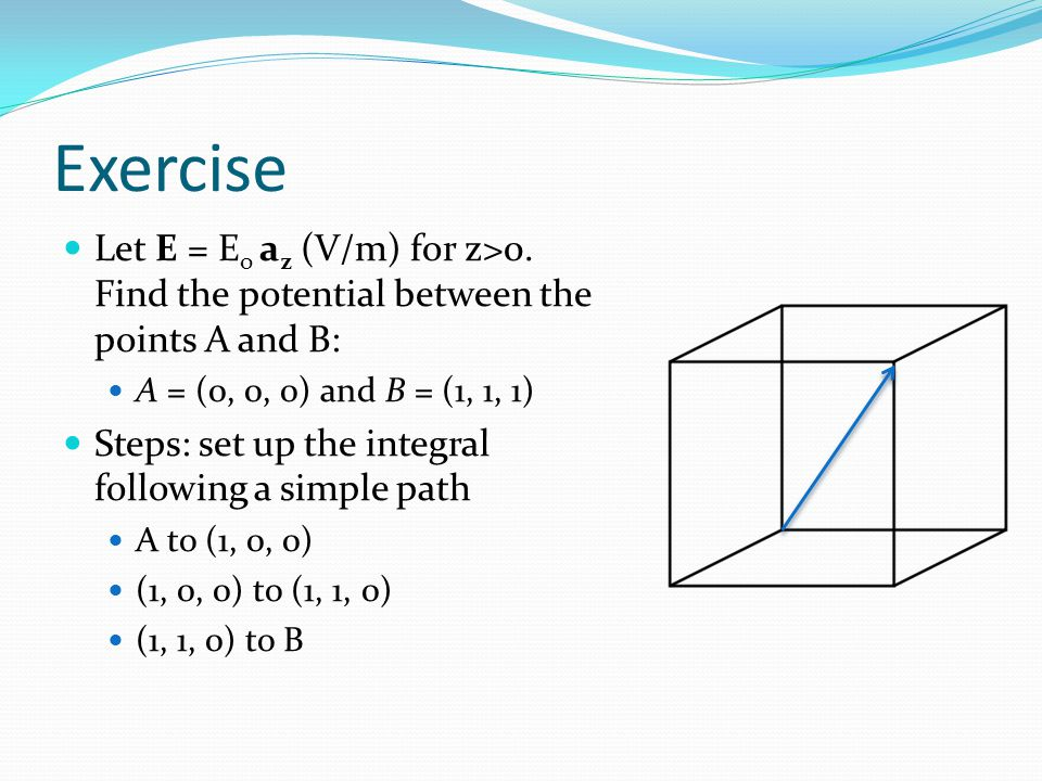 Exercise Let E = Eo az (V/m) for z>0. Find the potential between the points A and B: A = (0, 0, 0) and B = (1, 1, 1)