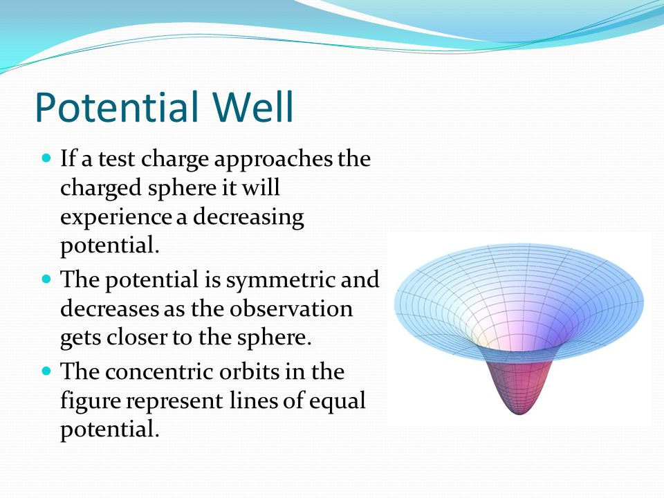Potential Well If a test charge approaches the charged sphere it will experience a decreasing potential.