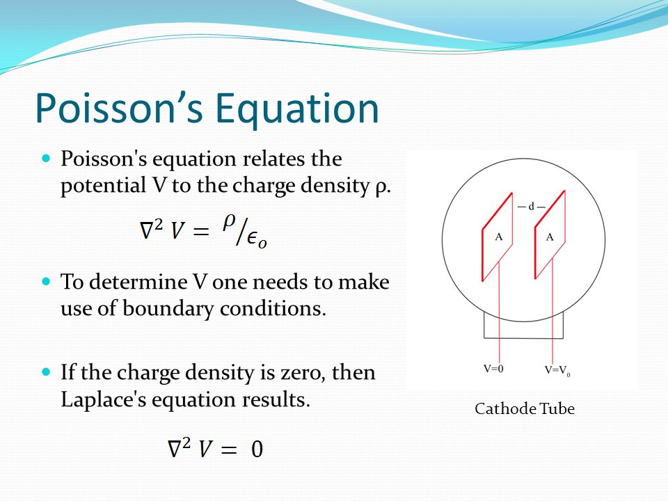 Poisson's Equation Poisson s equation relates the potential V to the charge density ρ. To determine V one needs to make use of boundary conditions.