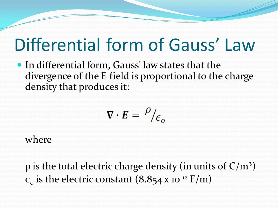 Differential form of Gauss' Law