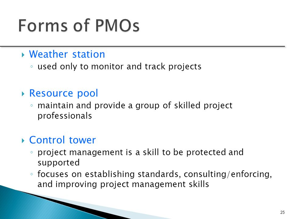 Forms of PMOs Weather station Resource pool Control tower