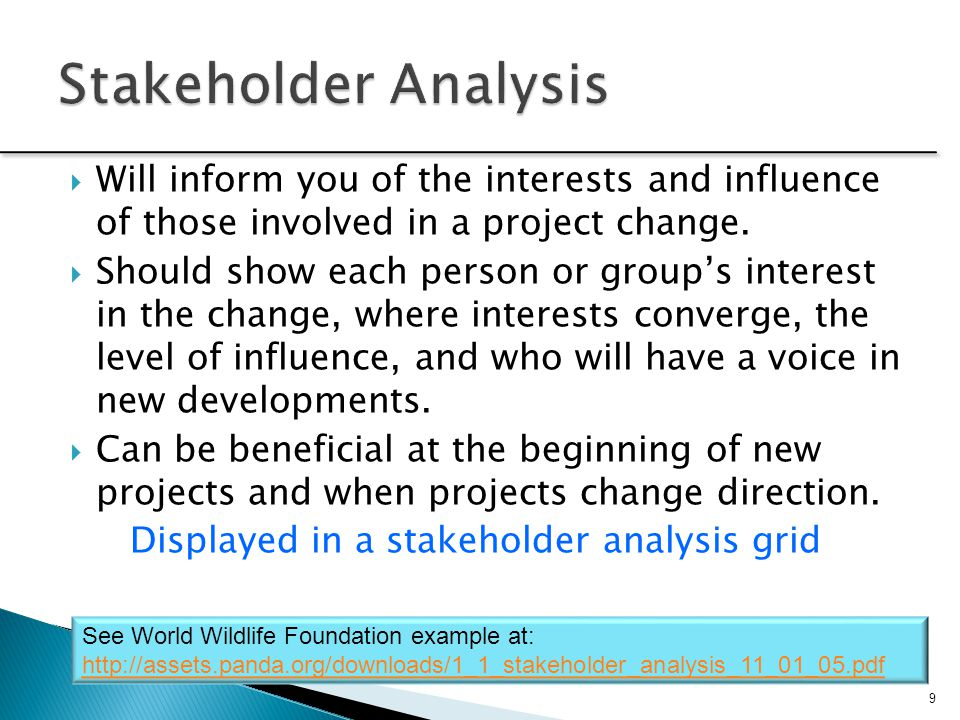 Stakeholder Analysis Will inform you of the interests and influence of those involved in a project change.