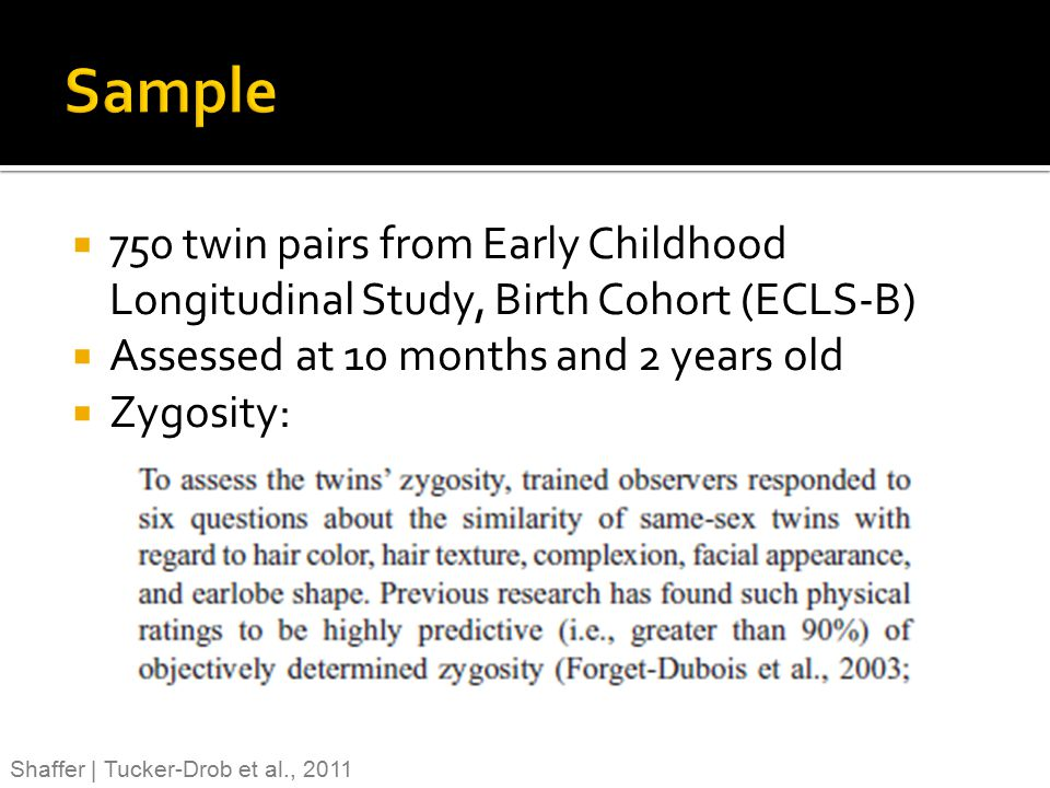 Sample 750 twin pairs from Early Childhood Longitudinal Study, Birth Cohort (ECLS-B) Assessed at 10 months and 2 years old.