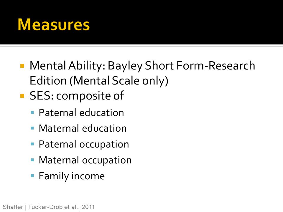 Measures Mental Ability: Bayley Short Form-Research Edition (Mental Scale only) SES: composite of.