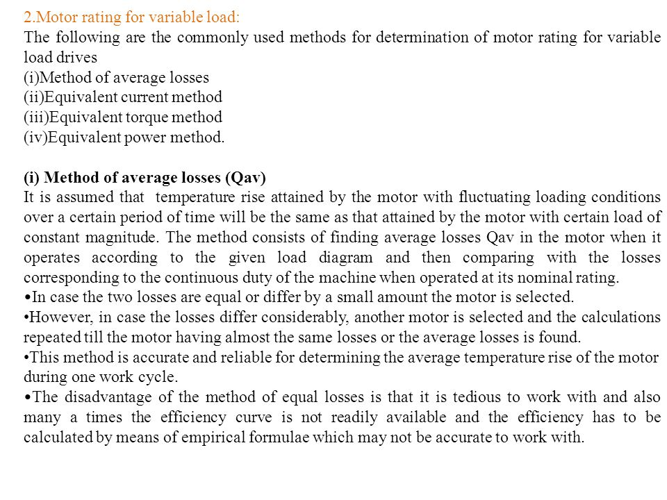 2.Motor rating for variable load: