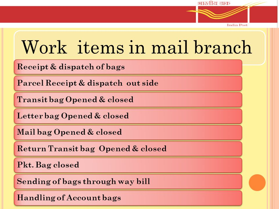 Work items in mail branch