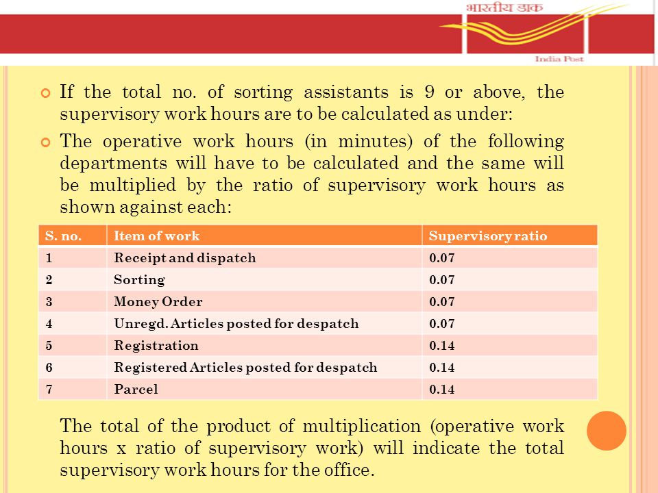 If the total no. of sorting assistants is 9 or above, the supervisory work hours are to be calculated as under: