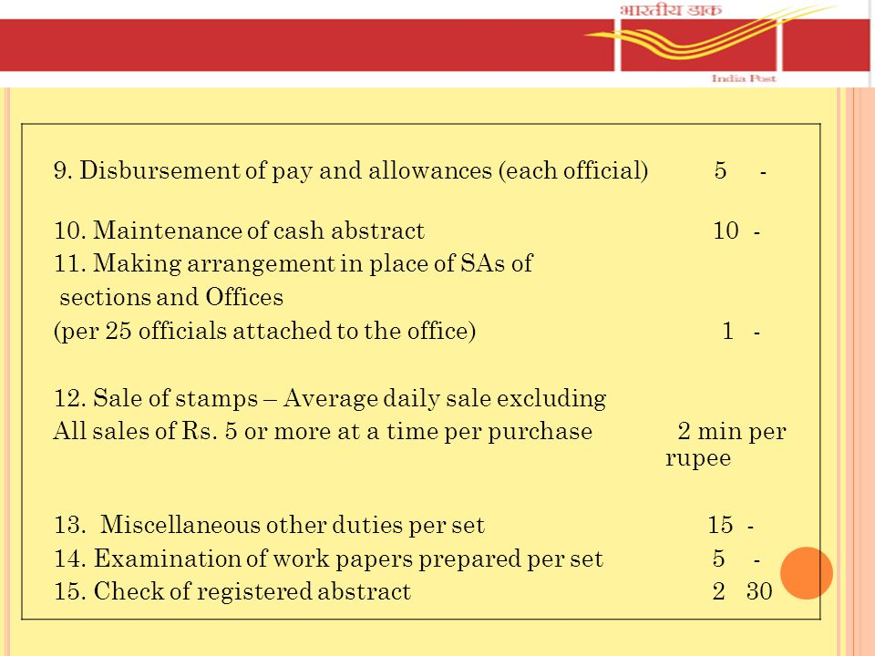 9. Disbursement of pay and allowances (each official) 5 -