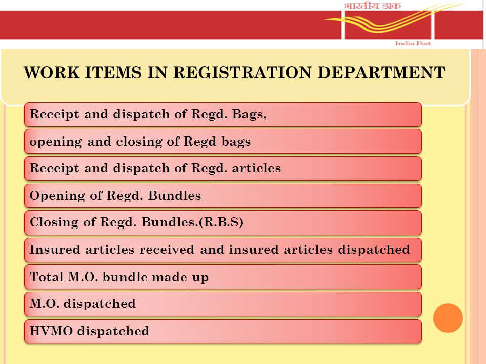 WORK ITEMS IN REGISTRATION DEPARTMENT