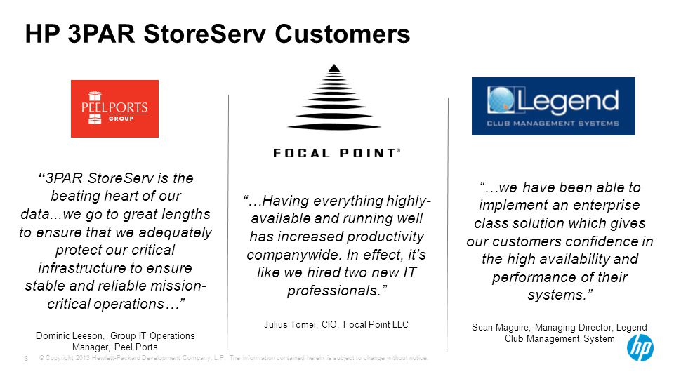 HP 3PAR StoreServ Customers