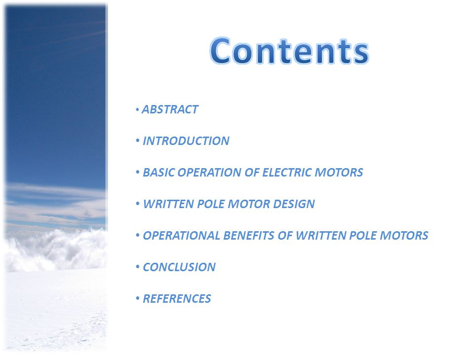 Contents INTRODUCTION BASIC OPERATION OF ELECTRIC MOTORS