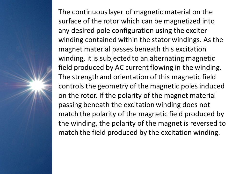 The continuous layer of magnetic material on the surface of the rotor which can be magnetized into any desired pole configuration using the exciter winding contained within the stator windings.