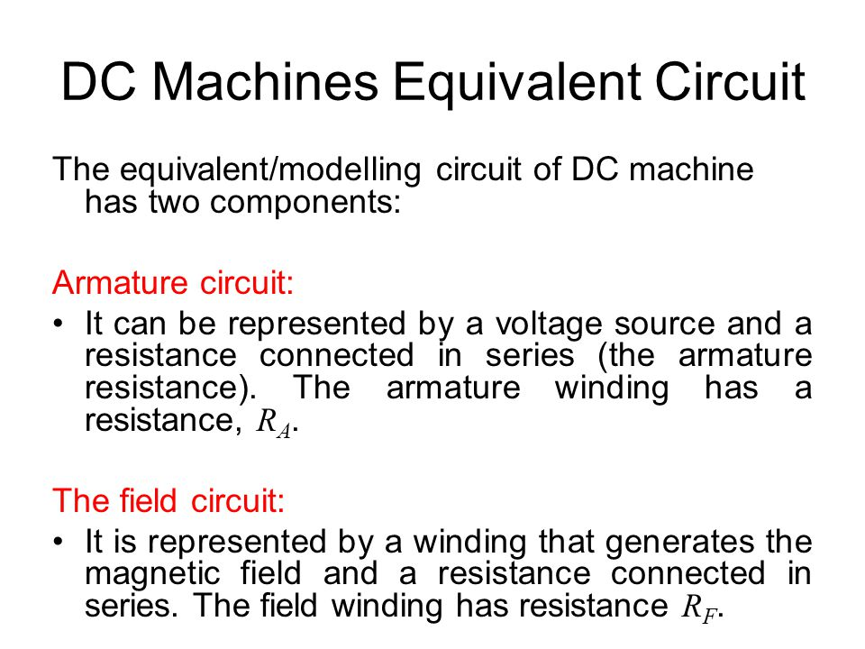 DC Machines Equivalent Circuit