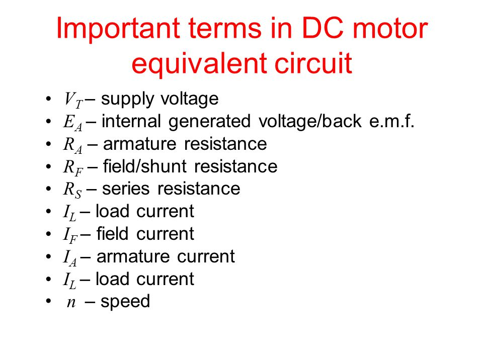 Important terms in DC motor equivalent circuit