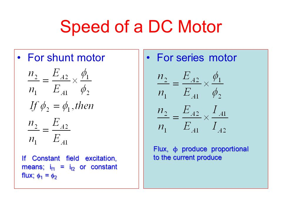 Speed of a DC Motor For shunt motor For series motor