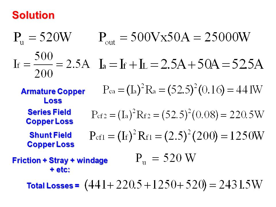 Solution Armature Copper Loss Series Field Copper Loss