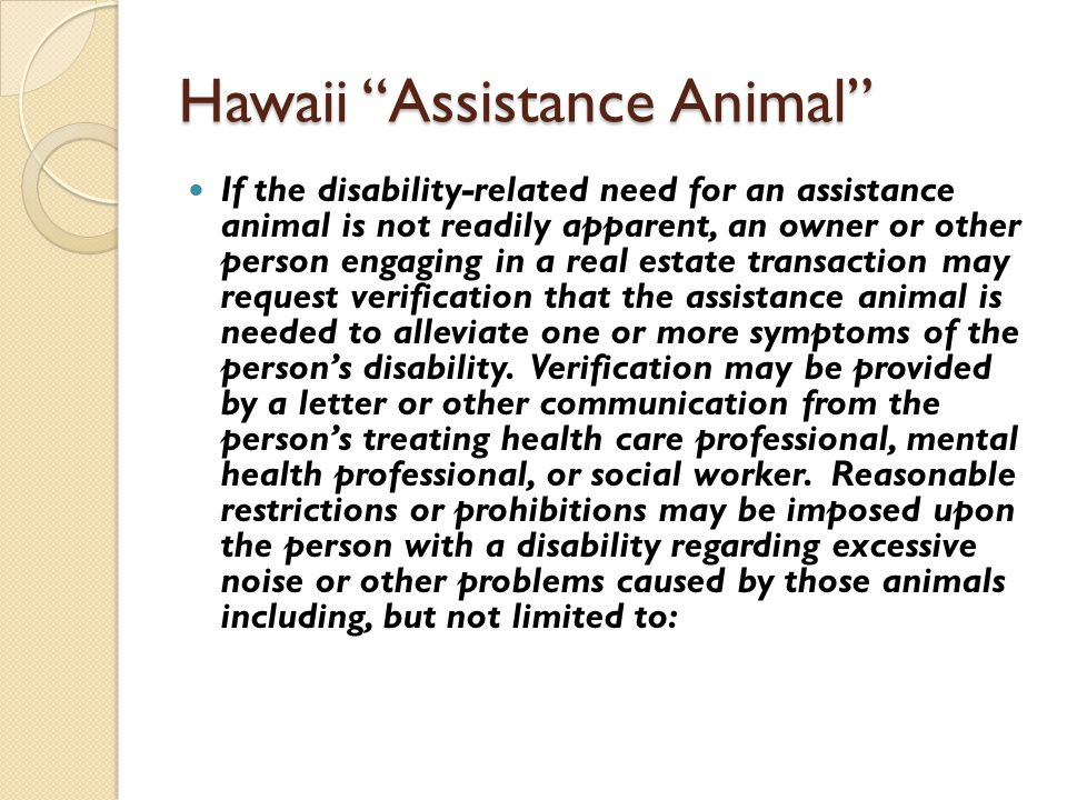 Hawaii Assistance Animal