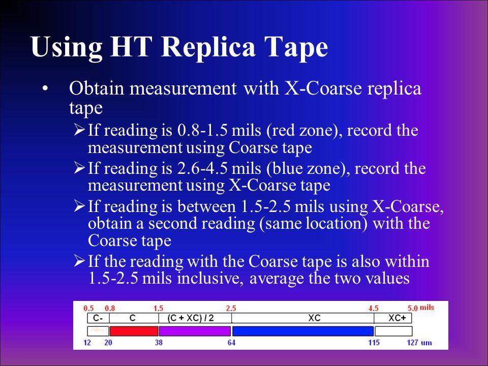 Using HT Replica Tape Obtain measurement with X-Coarse replica tape