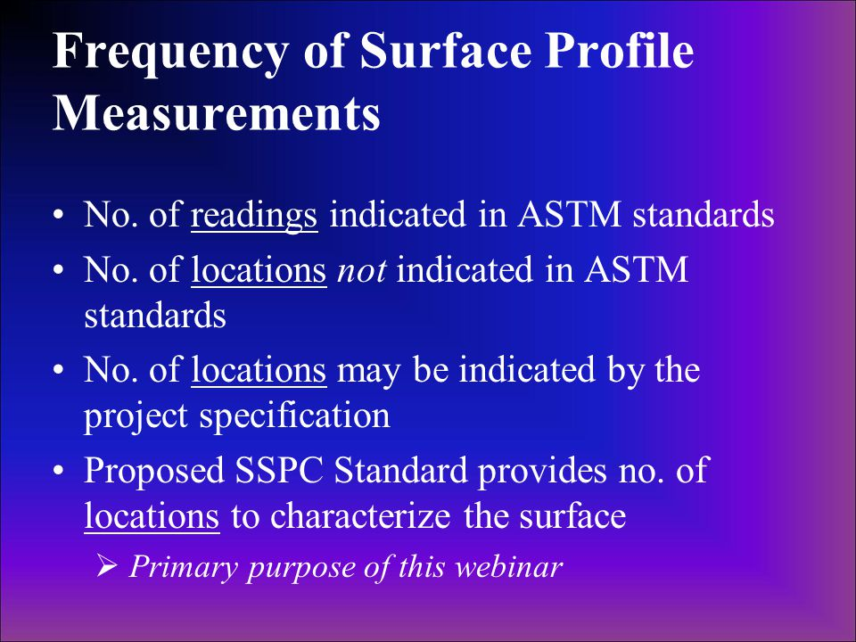 Frequency of Surface Profile Measurements