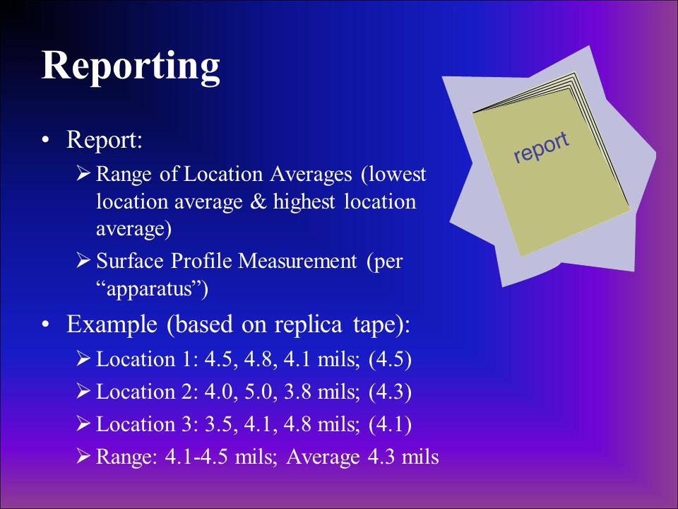 Reporting Report: Example (based on replica tape):