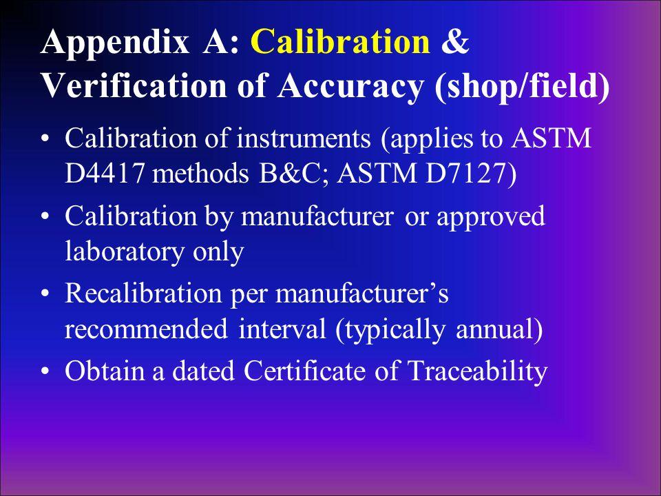 Appendix A: Calibration & Verification of Accuracy (shop/field)