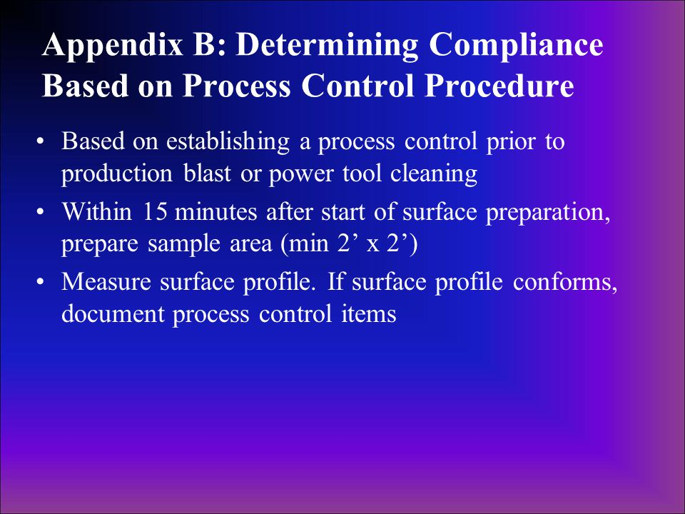 Appendix B: Determining Compliance Based on Process Control Procedure