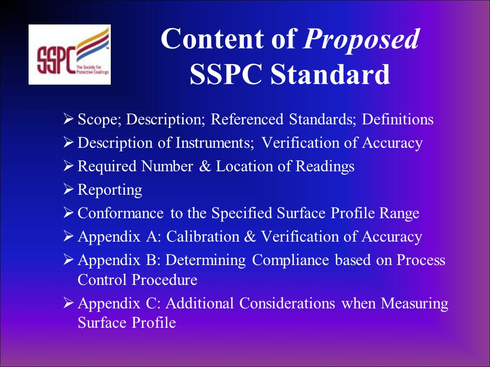 Content of Proposed SSPC Standard