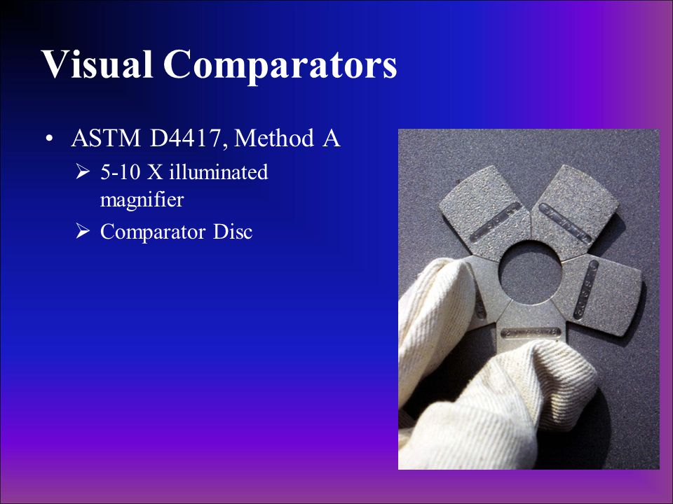Visual Comparators ASTM D4417, Method A 5-10 X illuminated magnifier