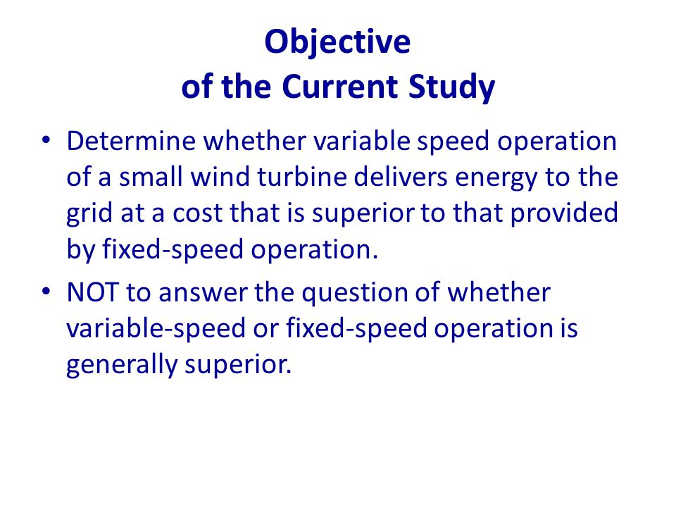 Objective of the Current Study