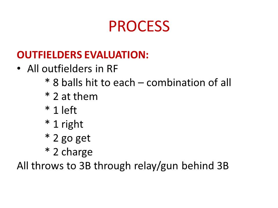 PROCESS OUTFIELDERS EVALUATION: All outfielders in RF
