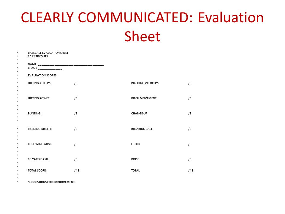 CLEARLY COMMUNICATED: Evaluation Sheet
