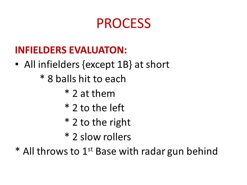 PROCESS INFIELDERS EVALUATON: All infielders {except 1B} at short