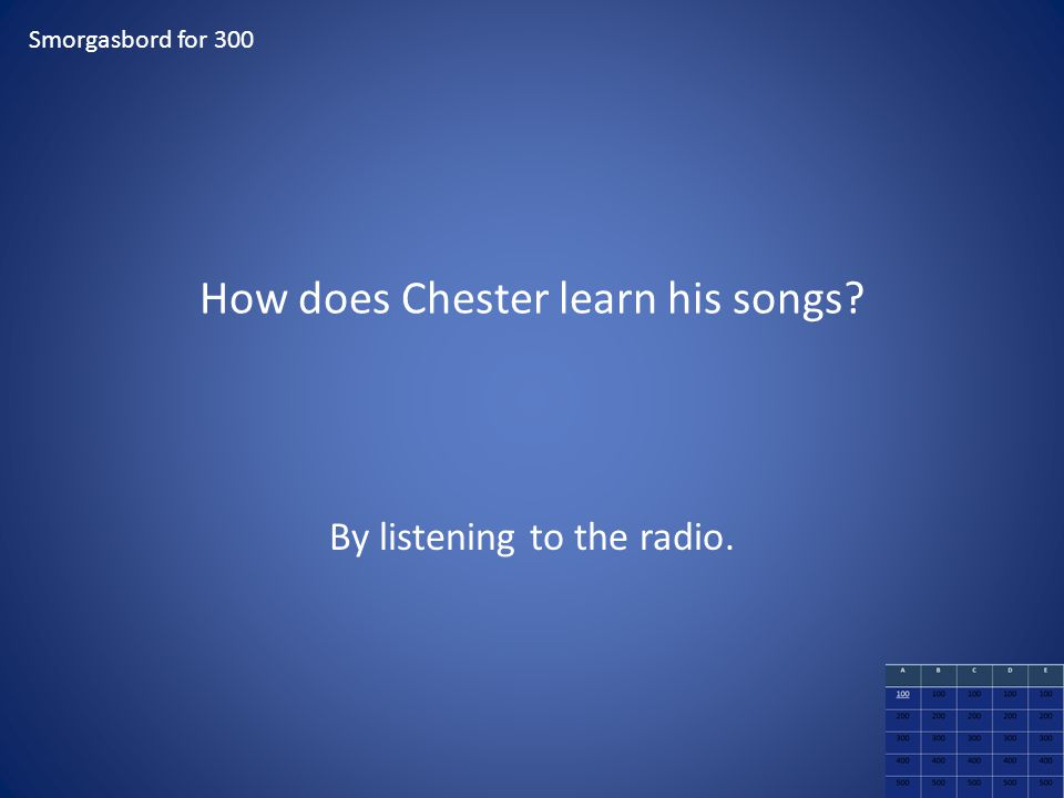How does Chester learn his songs