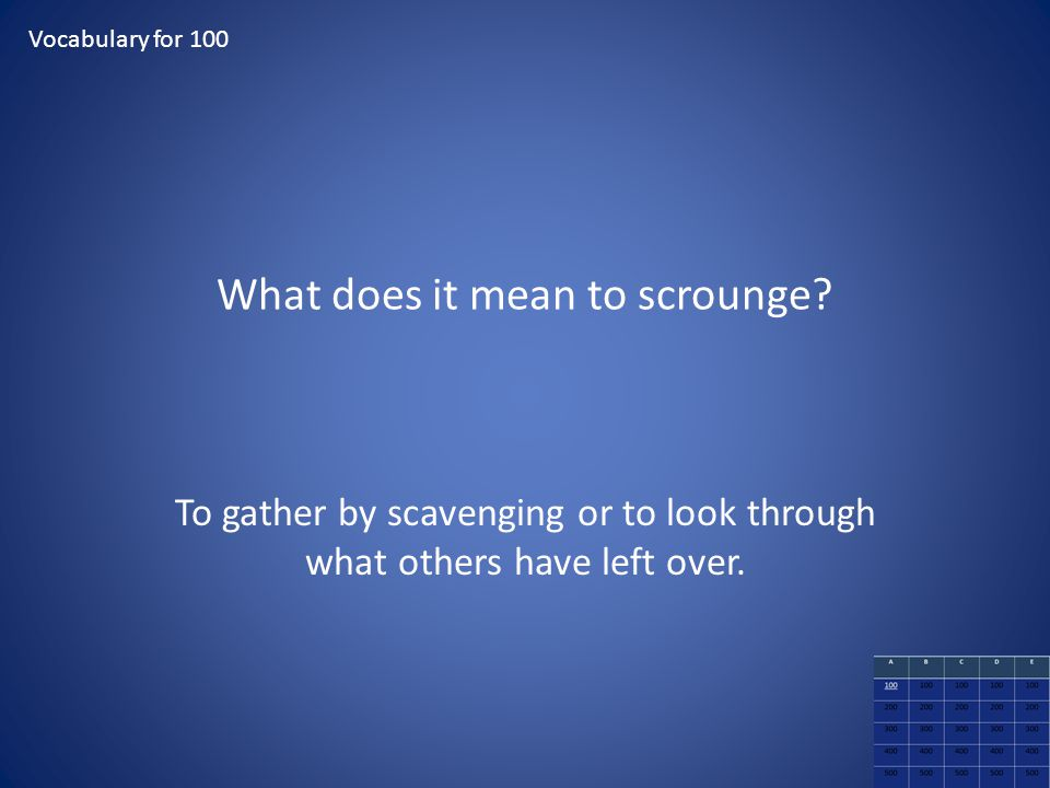 What does it mean to scrounge