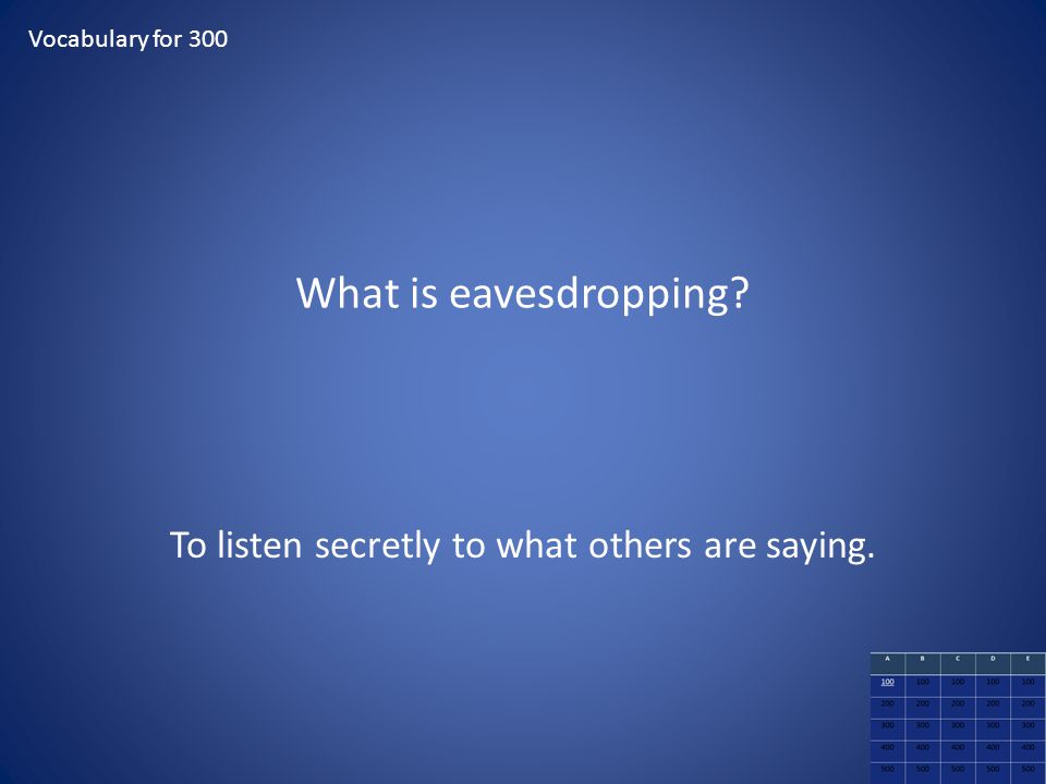 To listen secretly to what others are saying.