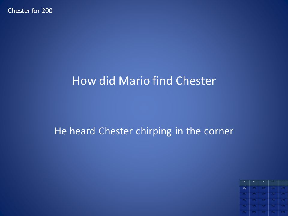 How did Mario find Chester