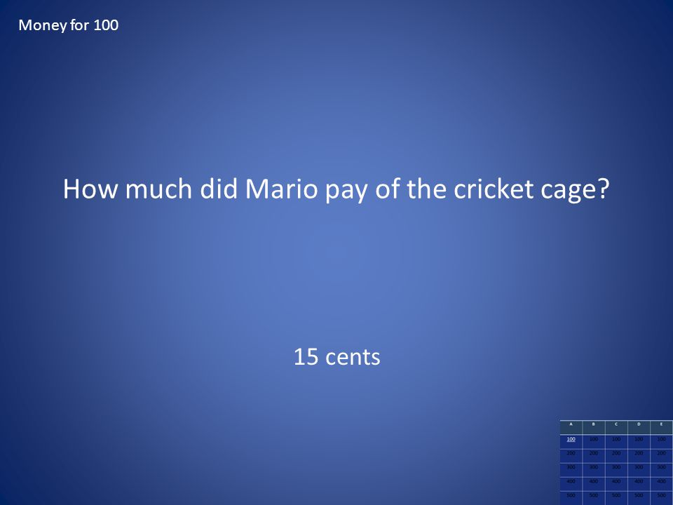 How much did Mario pay of the cricket cage