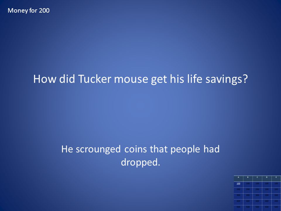 How did Tucker mouse get his life savings