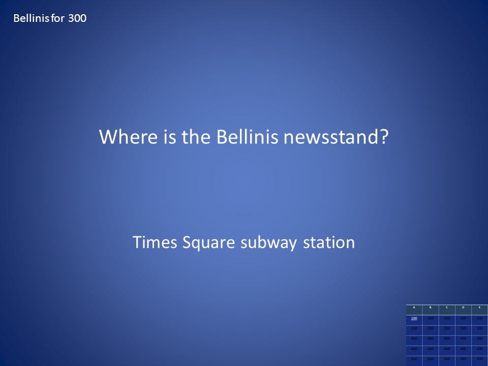 Where is the Bellinis newsstand