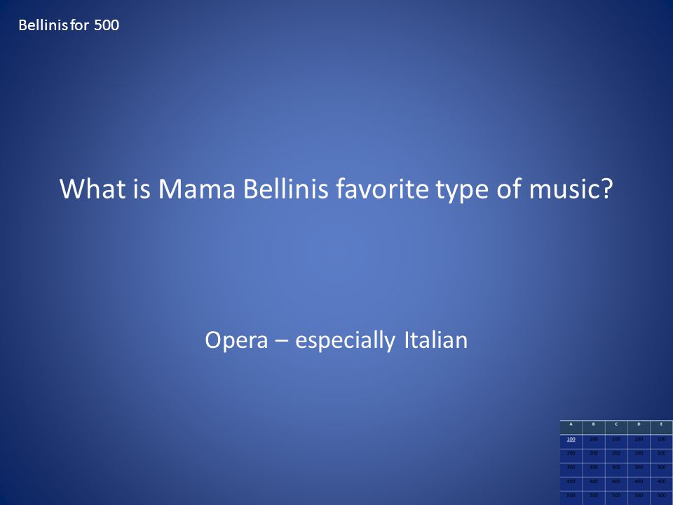 What is Mama Bellinis favorite type of music