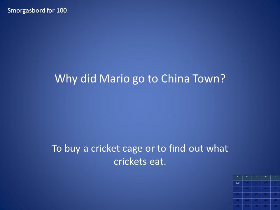 Why did Mario go to China Town