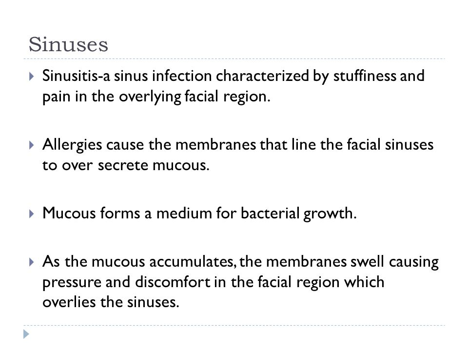 Sinuses Sinusitis-a sinus infection characterized by stuffiness and pain in the overlying facial region.