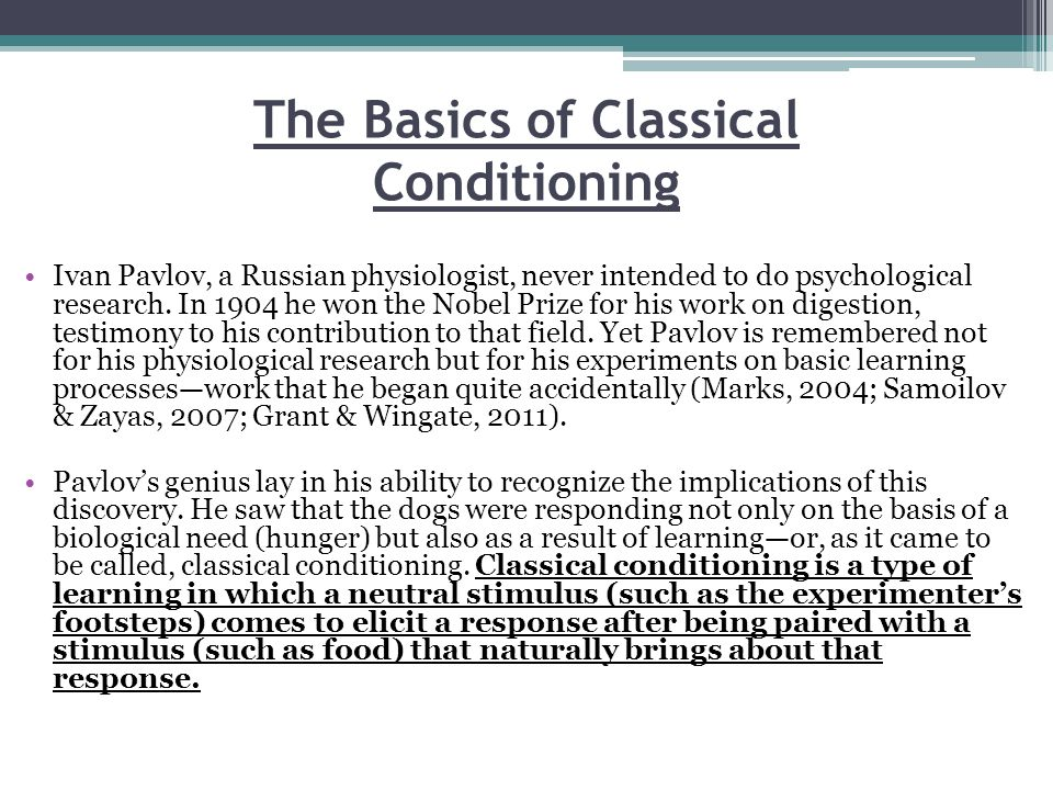 The Basics of Classical Conditioning