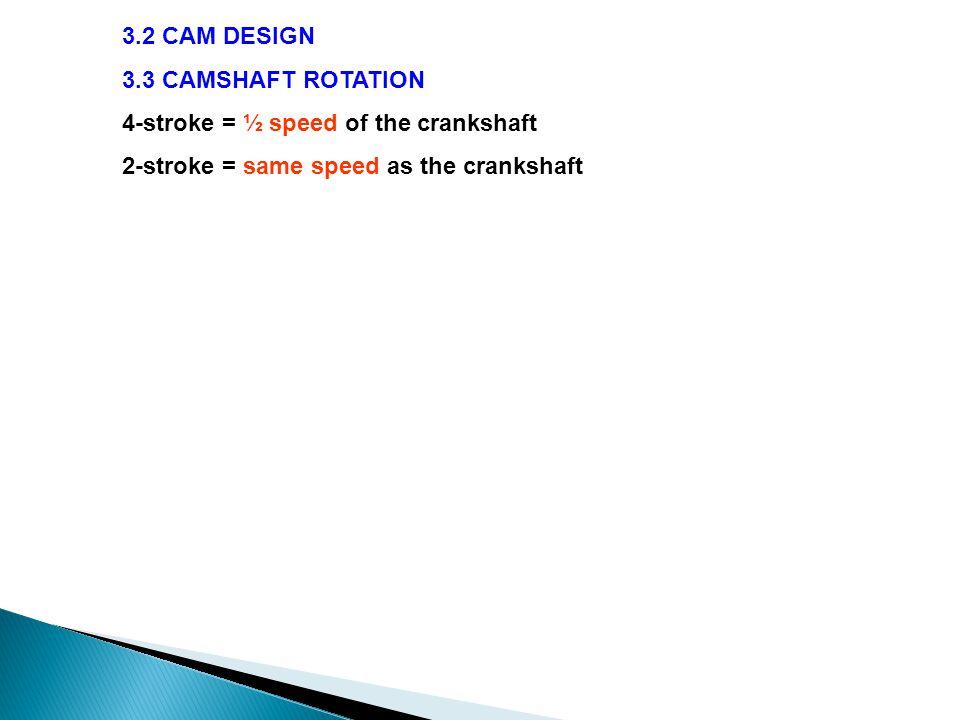 3.2 CAM DESIGN 3.3 CAMSHAFT ROTATION. 4-stroke = ½ speed of the crankshaft.